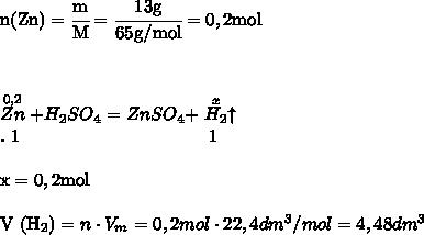 \rmn (Zn)=\cfrac {m}{M}=\cfrac {13 g}{65 g/mol}=0,2 mol \\\\\\\\mathrm {\stackrel {0,2}{Zn}+H_2SO_4=ZnSO_4+\stackrel{x}{H_2} \uparrow} \\. \ 1 \ \ \ \ \ \ \ \ \ \ \ \ \ \ \ \ \  \ \ \ \ \ \ \ \ \ \ \  \ \ \ 1 \\\rm\\x=0,2 mol   \\V (H_2)=n \cdot V_m=0,2 mol \cdot 22,4 dm^3/mol=4,48 dm^3