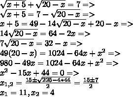 \sqrt{x+5} + \sqrt{20-x}=7 =>\\ \sqrt{x+5} =7 - \sqrt{20-x} =>\\ x+5=49-14\sqrt{20-x}+20-x =>\\ 14\sqrt{20-x}=64-2x =>\\ 7\sqrt{20-x}=32-x =>\\ 49(20-x)=1024-64x+x^2 =>\\ 980-49x=1024-64x+x^2 =>\\ x^2 - 15x + 44 =0 =>\\ x_{1,2}=\frac{15\pm\sqrt{225-4*44}}{2}=\frac{15\pm7}{2} \\x_{1}=11, x_{2}=4