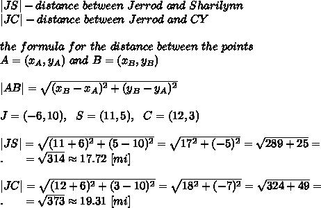 |JS|-distance\ between\ Jerrod\ and\ Sharilynn\ |JC|-distance\ between\ Jerrod\ and\ CY\ \the\ formula\ for\ the\ distance\ between\ the\ points \A = (x_A, y_A) \ and\  B = (x_B, y_B)\ \|AB|= \sqrt{(x_B-x_A)^2+(y_B-y_A)^2} \ \J=(-6,10),\ \ S=(11,5),\ \ C=(12,3)\ \|JS|= \sqrt{(11+6)^2+(5-10)^2} = \sqrt{17^2+(-5)^2} = \sqrt{289+25} =\.\ \ \ \ \ = \sqrt{314} \approx17.72\ [mi]\ \|JC|= \sqrt{(12+6)^2+(3-10)^2} = \sqrt{18^2+(-7)^2} = \sqrt{324+49} =\.\ \ \ \ \ = \sqrt{373} \approx19.31\ [mi]