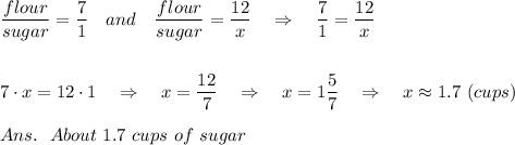 \frac{\big{flour}}{\big{sugar }} = \frac{\big{7}}{\big{1}} \ \ \ and\ \ \  \frac{\big{flour}}{\big{sugar }} = \frac{\big{12}}{\big{x}} \ \ \ \Rightarrow\ \ \ \frac{\big{7}}{\big{1}}=\frac{\big{12}}{\big{x}} \\\\\\7\cdot x=12\cdot 1\ \ \ \Rightarrow\ \ \ x= \frac{\big{12}}{\big{7}}\ \ \ \Rightarrow\ \ \ x=1  \frac{\big{5}}{\big{7}}\ \ \ \Rightarrow\ \ \ x\approx 1.7\ (cups)\\\\Ans.\ \ About\ 1.7\ cups\ of\ sugar
