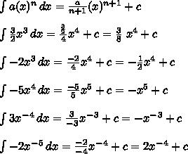\int\limits {a(x)^n} \, dx = \frac{a}{n+1}(x)^{n+1} +c\\  \\  \int\limits { \frac{3}{2}x^3 } \, dx  = \frac{ \frac{3}{2} }{4}x^4+c= \frac{3}{8}~x^4+c \\  \\  \int\limits {-2x^3} \, dx   = \frac{-2}{4}x^4 +c=- \frac{1}{2}x^4+c \\  \\  \int\limits { -5x^4 } \, dx= \frac{-5}{5}x^5+c=-x^5+c \\  \\ \int\limits { 3x^-^4 } \, dx = \frac{3}{-3}x^-^3+c=-x^-^3 +c\\  \\ \int\limits { -2x^-^5 } \, dx = \frac{-2}{-4}x^-^4+c=2x^-^4+c