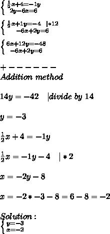 \left \{ {{\frac{1}{2}x+4=-1y} \atop {2y-6x=6}} \right. \\ \left \{ {{\frac{1}{2}x+1y=-4\ \ | *12} \atop {-6x+2y=6}} \right. \\ \left \{ {{6x+12y=-48} \atop {-6x+2y=6}} \right. \\+------\Addition\ method\\14y=-42\ \ \ | divide\ by\ 14\\y=-3\\\frac{1}{2}x+4=-1y\\\frac{1}{2}x=-1y-4\ \ \ | *2\\x=-2y-8\\x=-2*-3-8=6-8=-2\\Solution:\ \left \{ {{y=-3} \atop {x=-2}} \right.
