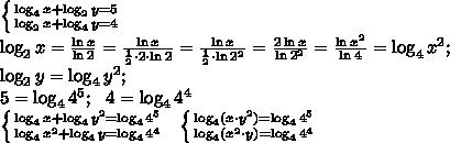\left \{ {{\log_4x+\log_2y=5} \atop {\log_2x+\log_4y=4}} \right.\\ \log_2x=\frac{\ln x}{\ln 2}=\frac{\ln x}{\frac{1}{2}\cdot2\cdot\ln 2}=\frac{\ln x}{\frac{1}{2}\cdot\ln2^2}=\frac{2\ln x}{\ln2^2}=\frac{\ln x^2}{\ln4}=\log_4x^2;\\\log_2y=\log_4y^2;\\5=\log_44^5;\ \ 4=\log_44^4\\ \left \{ {{\log_4x+\log_4y^2=\log_44^5} \atop {\log_4x^2+\log_4y=\log_44^4}} \right.\ \  \left \{ {{\log_4(x\cdot y^2)=\log_44^5} \atop {\log_4(x^2\cdot y)=\log_44^4}} \right.