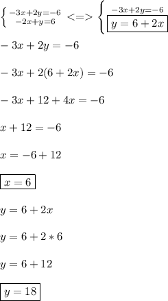 \left \{ {{-3x+2y=-6} \atop {-2x+y=6}} \right. <=>  \left \{ {{-3x+2y=-6} \atop {\boxed{y=6+2x}}}} \right. \\ \\ -3x+2y=-6 \\ \\ -3x+2(6+2x)=-6 \\ \\ -3x+12+4x=-6 \\ \\ x+12=-6 \\ \\ x=-6+12 \\ \\ \boxed{x=6 } \\ \\ y=6+2x \\ \\ y=6+2*6 \\ \\ y=6+12 \\ \\ \boxed{y=18}
