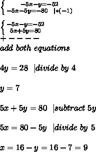 \left \{ {{-5x-y=-52} \atop {-5x-5y=-80\ \ | *(-1)}} \right. \\ \left \{ {{-5x-y=-52} \atop {5x+5y=80}} \right. \+----\ add\ both\ equations\\4y=28\ \ | divide\ by\ 4\\y=7\\5x+5y=80\ \ | subtract\ 5y\\5x=80-5y\ \ | divide\ by\ 5\\x=16-y=16-7=9