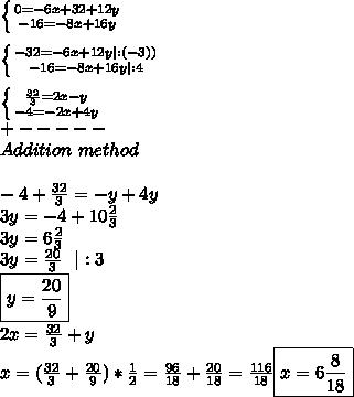 \left \{ {{0=-6x+32+12y} \atop {-16=-8x+16y}} \right.\\\\ \left \{ {{-32=-6x+12y|:(-3))} \atop {-16=-8x+16y|:4}} \right.\\\\  \left \{ {{\frac{32}{3}=2x-y} \atop {-4=-2x+4y}} \right.\\+-----\\Addition\ method\\\\-4+\frac{32}{3}=-y+4y\\3y=-4+10\frac{2}{3}\\3y=6\frac{2}{3}\\3y=\frac{20}{3}\ \ |:3\\\boxed{y=\frac{20}{9}}\\2x=\frac{32}{3}+y\\x=(\frac{32}{3}+\frac{20}{9})*\frac{1}{2}=\frac{96}{18}+\frac{20}{18}=\frac{116}{18}\boxed{x=6\frac{8}{18}}