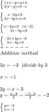 \left \{ {{1+x-y=y+4} \atop {4(x-y)=3-x}} \right. \\\\ \left \{ {{x-2y=3} \atop {4x-4y+x=3}} \right. \\\\  \left \{ {{x-2y=3\ \ | *(-2)} \atop {5x-4y=3}} \right.\\\\ \left \{ {{-2x+4y=-6} \atop {5x-4y=3}} \right.\\+-----\\Addition\ method\\\\3x=-3 \ \ | divide\ by\ 3\\\\x=-1\\\\2y=x-3\\y=\frac{x-3}{2}=\frac{-1-3}{2}=-2\\\\ \left \{ {{y=-2} \atop {x=-1}} \right.