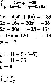 \left \{ {{2x-4y=-38} \atop {y-5x=41\ \to\ y=41+5x}} \right. \\2x-4(41+5x)=-38\2x-164-20x=-38\2x-20x=-38+164\-18x=126\ \ \ \ \ |:-18\x=-7\\y=41+5\cdot(-7)\y=41-35\y=6\\ \left \{ {{y=6} \atop {x=-7}} \right.