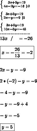 \left \{ {{3x+5y=19} \atop {4x-2y=-18 \ |:2}} \right. \\ \left \{ {{3x+5y=19} \atop {2x-y=-9 \ |5}} \right. \\  \left \{ {{3x+5y=19} \atop {10x-5y=-45}} \right. \ ....................... \ 13x \ \ / \ \ \ =-26 \\ \boxed{x= -\frac{26}{13}= -2} \\\\ 2x-y=-9 \\ 2*(-2)-y=-9 \\ -4-y=-9 \\ -y=-9+4 \\ -y=-5 \\ \boxed{y=5}