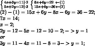 \left \{ {{4x+3y=11 \cdot2 } \atop {5x+2y=12 \cdot3}} \right. \left \{ {{8x+6y=22\ \leftarrow(1)} \atop {15x+6y=36\leftarrow(2)}} \right.\\(2)-(1)=15x+6y-8x-6y=36-22;\\7x=14;\\x=2; \\2y=12-5x=12-10=2; -> y=1\\ or \\ 3y=11-4x=11-8=3 ->y=1;