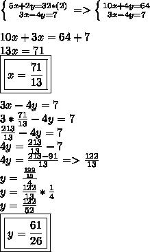 \left \{ {{5x+2y=32*(2)} \atop {3x-4y=7}} \right.=> \left \{ {{10x+4y=64} \atop {3x-4y=7}} \right.  \\\\10x+3x=64+7\\13x=71\\\boxed{\boxed{x=\frac{71}{13}}}\\\\3x-4y=7\\3*\frac{71}{13}-4y=7\\\frac{213}{13}-4y=7\\4y=\frac{213}{13}-7\\4y=\frac{213-91}{13}=>\frac{122}{13}\\y=\frac{\frac{122}{13}}{4}\\y=\frac{122}{13}*\frac{1}{4}\\y=\frac{122}{52}\\\boxed{\boxed{y=\frac{61}{26}}}