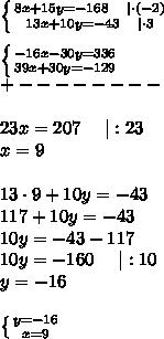 \left \{ {{8x+15y=-168\ \ \ |\cdot(-2)} \atop {13x+10y=-43\ \ \ |\cdot3}} \right. \\ \left \{ {{-16x-30y=336} \atop {39x+30y=-129}} \right. \+--------\\23x=207\ \ \ \ |:23\x=9\\13\cdot9+10y=-43\117+10y=-43\10y=-43-117\10y=-160\ \ \ \ |:10\y=-16\\ \left \{ {{y=-16} \atop {x=9}} \right.