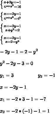 \left \{ {{x+2y=-1} \atop {4^{x+y^2}=16}} \right. \\ \\  \left \{ {{x=-2y-1} \atop {4^{x+y^2}=4^2}} \right. \\ \\  \left \{ {{x=-2y-1} \atop {x+y^2=2} \right. \\ \\ \left \{ {{x=-2y-1} \atop {x=2-y^2} \right. \\ \\ -2y-1=2-y^2 \\ \\ y^2-2y-3=0 \\ \\ y_1=3\ \ \ \ \ \ \ \ \ \ \ \ \ \ \ y_2=-1 \\ \\ x=-2y-1 \\ \\ x_1=-2*3-1=-7 \\ \\ x_2=-2*(-1)-1=1