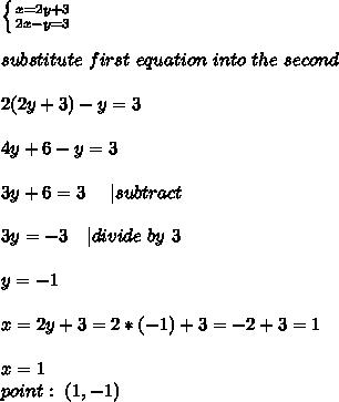 \left \{ {{x=2y+3} \atop {2x-y=3}} \right. \\ substitute\ first\ equation\ into\ the\ second\\2(2y+3)-y=3\\4y+6-y=3\\3y+6=3 \ \ \ \ | subtract\ \\3y=-3\ \ \ | divide\ by\ 3\\y=-1\\x=2y+3=2*(-1)+3=-2+3=1\\x=1\ point:\ (1,-1)
