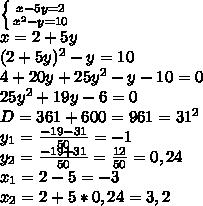 \left \{ {{x-5y=2} \atop {x^2-y=10}} \right.  \\ x=2+5y \\ (2+5y)^2-y=10 \\ 4+20y+25y^2-y-10=0 \\ 25y^2+19y-6=0 \\ D=361+600=961=31^2 \\ y_1= \frac{-19-31}{50} =-1 \\ y_2= \frac{-19+31}{50} = \frac{12}{50} =0,24 \\ x_1=2-5=-3 \\ x_2=2+5*0,24=3,2