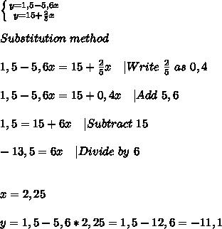 \left \{ {{y=1,5-5,6x} \atop {y=15+\frac{2}{5}x}} \right. \\\\Substitution\ method\\\\1,5-5,6x=15+\frac{2}{5}x\ \ \ | Write\ \frac{2}{5}\ as\ 0,4\\\\1,5-5,6x=15+0,4x\ \ \ |Add\ 5,6\\\\1,5=15+6x\ \ \ |Subtract\ 15\\\\-13,5=6x\ \ \ |Divide\ by\ 6\\\\\\ x=2,25\\\\y=1,5-5,6*2,25=1,5-12,6=-11,1