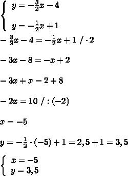 \left\{\begin{array}{ccc}y=-\frac{3}{2}x-4\\\\y=-\frac{1}{2}x+1\end{array}\right\\\\-\frac{3}{2}x-4=-\frac{1}{2}x+1\ /\cdot2\\\\-3x-8=-x+2\\\\-3x+x=2+8\\\\-2x=10\ /:(-2)\\\\x=-5\\\\y=-\frac{1}{2}\cdot(-5)+1=2,5+1=3,5\\\\  \left\{\begin{array}{ccc}x=-5\\y=3,5\end{array}\right