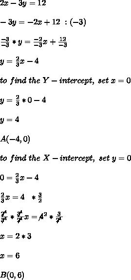 2x-3y=12 \\ \\-3y=-2x +12 \ \/:(-3) \\ \\\frac{-3}{-3}*y=\frac{-2}{-3}x+\frac{12}{-3}\\ \\y=\frac{2}{3}x -4 \\ \\to \  find  \ the \ Y-intercept, \ set \  x = 0 \\ \\y=\frac{2}{3}*0-4\\ \\y=4 \\ \\ A(-4,0)\\ \\to \  find  \ the \ X-intercept, \ set \  y = 0 \\ \\0=\frac{2}{3}x-4\\ \\\frac{2}{3 }x= 4 \ \ *\frac{3}{2}\\ \\\frac{\not2^1}{\not3^1 }*\frac{\not3^1}{\not2^1}x= \not4^2*\frac{3}{\not2^1}\\ \\x=2*3\\ \\x=6 \\ \\B(0,6)