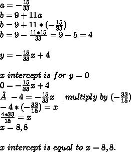 a=-\frac{15}{33}\\ b=9+11a\\ b=9+11*(-\frac{15}{33})\\ b=9-\frac{11*15}{33}=9-5=4\\\\y=-\frac{15}{33}x+4\\\\ x\ intercept\ is\ for\ y=0\\ 0=-\frac{15}{33}x+4\\-4=-\frac{15}{33}x\ \ \ |multiply\ by\ (-\frac{33}{15})\\ -4*(-\frac{33}{15})=x\\ \frac{4*33}{15}=x\\x=8,8\\\\x\ intercept\ is\ equal\ to\ x=8,8.