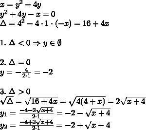 x=y^2+4y\\ y^2+4y-x=0\\\Delta=4^2-4\cdot1\cdot(-x)=16+4x\\\\1.\ \Delta<0 \Rightarrow y\in\emptyset\\\\2. \ \Delta=0\\y=-\frac{4}{2\cdot1}=-2\\\\3.\ \Delta>0\\\sqrt{\Delta}=\sqrt{16+4x}=\sqrt{4(4+x)}=2\sqrt{x+4}\\y_1=\frac{-4-2\sqrt{x+4}}{2\cdot1}=-2-\sqrt{x+4}\\y_2=\frac{-4+2\sqrt{x+4}}{2\cdot1}=-2+\sqrt{x+4}\\