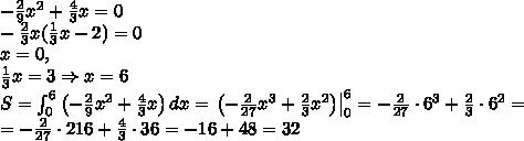 -\frac29x^2+\frac43x=0\-\frac23x(\frac13x-2)=0\x=0,\\frac13x=3\Rightarrow x=6\S=\int_0^6\left(-\frac29x^2+\frac43x\right)dx=\left.\left(-\frac2{27}x^3+\frac23x^2\right)\right|_0^6=-\frac2{27}\cdot6^3+\frac23\cdot6^2=\=-\frac2{27}\cdot216+\frac43\cdot36=-16+48=32