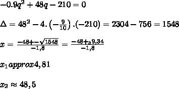 -0.9q^2+48q-210=0  \\\\\Delta=48^2-4.\left(-\frac{9}{10} \right).(-210)=2304-756=1548 \\\\x=\frac{-48+-\sqrt{1548}}{-1,8}=\frac{-48+_39,34}{-1,8}  \\\\x_1 approx 4,81  \\\\x_2 \approx 48,5