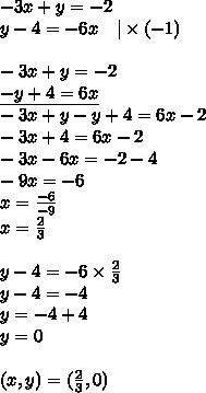 -3x+y=-2 \\y-4=-6x \ \ \ |\times (-1) \\ \\-3x+y=-2 \\\underline{-y+4=6x} \\-3x+y-y+4=6x-2 \\-3x+4=6x-2 \\-3x-6x=-2-4 \\-9x=-6 \\x=\frac{-6}{-9} \\x=\frac{2}{3} \\ \\y-4=-6 \times \frac{2}{3} \\y-4=-4 \\y=-4+4 \\y=0 \\ \\(x,y)=(\frac{2}{3},0)