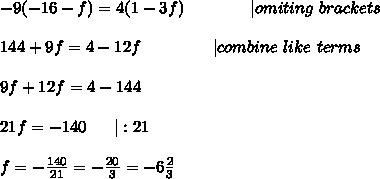 -9(-16-f)=4(1-3f)\ \ \ \ \ \ \ \ \ \ \ \ |omiting\ brackets\\\\144+9f=4-12f\ \ \ \ \ \ \ \ \ \ \ \ \ |combine\ like\ terms\\\\9f+12f=4-144\\\\21f=-140\ \ \ \ \ |:21\\\\f=-\frac{140}{21}=-\frac{20}{3}=-6\frac{2}{3}