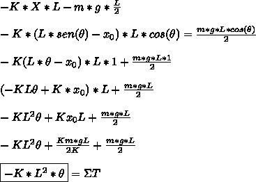 -K*X*L-m*g* \frac{L}{2}\\\\-K*(L*sen(\theta)-x_0)*L*cos(\theta)= \frac{m*g*L*cos(\theta)}{2} \\\\-K(L*\theta-x_0)*L*1+ \frac{m*g*L*1}{2} \\\\(-KL\theta+K*x_0)*L+ \frac{m*g*L}{2}\\\\-KL^2\theta+Kx_0L+\frac{m*g*L}{2}\\\\-KL^2\theta+ \frac{Km*gL}{2K} +\frac{m*g*L}{2}\\\\\boxed{-K*L^2*\theta}=\Sigma T