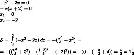 -x^2-2x=0 \\ -x(x+2)=0 \\ x_1=0 \\ x_2=-2 \\  \\  \\ S= \int\limits^0_{-2} {(-x^2-2x)} \, dx =-(\frac{x^3}{3}+x^2)= \\  \\ =-( (\frac{0^3}{3}  +0^2)-( \frac{(-2)^3}{3}+(-2)^2)) = -(0-( -\frac{8}{3} +4))= \frac{4}{3} =1 \frac{1}{3}
