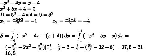 -x^2-4x=x+4 \\ x^2+5x+4=0 \\ D=5^2-4*4=9=3^2 \\ x_1=\frac{-5+3}{2}=-1 \ \ \ \ \ \ \ \ \ x_2=\frac{-5-3}{2}=-4 \\ \\ S=\int\limits^{-1}_{-4} {(-x^2-4x-(x+4))} \, dx=\int\limits^{-1}_{-4} {(-x^2-5x-x)} \, dx= \\ = (-\frac{x^3}{3}-2x^2-\frac{x^2}{2})[_{-4}^{-1}=\frac{1}{3}-2-\frac{1}{2}-(\frac{64}{3}-32-8)= 37,5-21= \\ =16,5