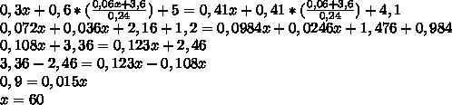 0,3x+0,6*( \frac{0,06x+3,6}{0,24} )+5=0,41x+0,41* (\frac{0,06+3,6}{0,24}) +4,1\\0,072x+0,036x+2,16+1,2=0,0984x+0,0246x+1,476+0,984\\0,108x+3,36=0,123x+2,46\\3,36-2,46=0,123x-0,108x\\0,9=0,015x\\x=60\\