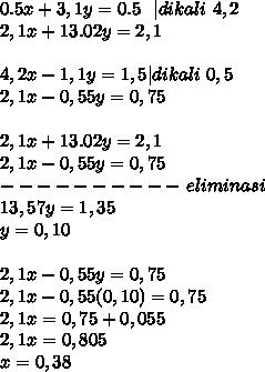 0.5x + 3,1y=0.5~~|dikali~4,2  \ 2,1x+13.02y=2,1\  \ 4,2x -1,1y=1,5 |dikali~0,5\ 2,1 x-0,55y=0,75 \  \  2,1x+13.02y=2,1 \ 2,1 x-0,55y=0,75 \ ----------~eliminasi \ 13,57y=1,35 \ y=0,10\  \ 2,1 x-0,55y=0,75\ 2,1x-0,55(0,10)=0,75 \ 2,1x=0,75+0,055 \ 2,1x=0,805\x=0,38