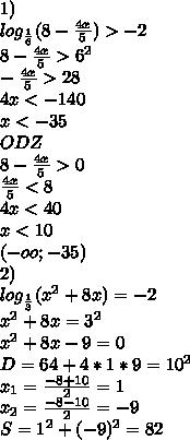1)\\log_{\frac{1}{6}}(8-\frac{4x}{5})>-2\\8-\frac{4x}{5}>6^{2}\\ - \frac{4x}{5}>28\\ 4x<-140\\ x<-35\\ODZ\\8-\frac{4x}{5}>0\\\frac{4x}{5}<8\\4x<40\\x<10\\(-oo;-35)\\2)\\log_\frac{1}{3}(x^2+8x)=-2\\x^2+8x=3^{2}\\x^2+8x-9=0\\D=64+4*1*9=10^2 \\x_{1}=\frac{-8+10}{2}=1\\x_{2}=\frac{-8-10}{2}=-9\\S=1^2+(-9)^2=82