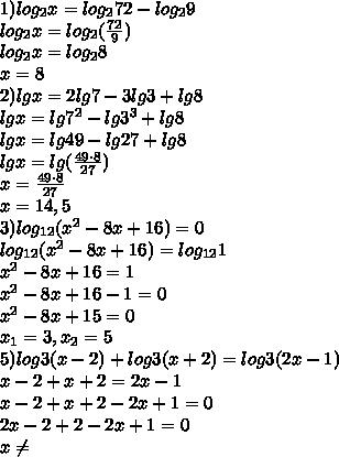 1)log_2x=log_272-log_29\\log_2x=log_2(\frac{72}{9})\\log_2x=log_28\\x=8\\ 2)lgx=2lg7-3lg3+lg8\\lgx=lg7^2-lg3^3+lg8\\lgx=lg49-lg27+lg8\\lgx=lg(\frac{49\cdot8}{27})\\x=\frac{49\cdot8}{27}\\x=14,5\\3)log_{12}(x^2-8x+16)=0\\log_{12}(x^2-8x+16)=log_{12}1\\x^2-8x+16=1\\x^2-8x+16-1=0\\x^2-8x+15=0\\x_1=3,x_2=5\\5)log3(x-2)+log3(x+2)=log3(2x-1)\\x-2+x+2=2x-1\\x-2+x+2-2x+1=0\\2x-2+2-2x+1=0\\x\neq