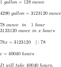 1\ gallon=128\ ounce\\4290\ gallon=3123120\ ounce\\78\ ounce\ \ in\ \ \ 1\ hour\3123120\ ounce\ in\ x\ hours\\78x=3123120\ \ \ |:78\\c=40040\ hours\\It\ will\ take\ 40040\ hours.