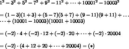 1^2-3^2+5^2-7^2+9^2-11^2+\dots+10001^2-10003^2\\\\=(1-3)(1+3)+(5-7)(5+7)+(9-11)(9+11)+\dots\\\dots+(10001-10003)(10001+10003)\\\\=(-2)\cdot4+(-2)\cdot12+(-2)\cdot20+\dots+(-2)\cdot20004\\\\=(-2)\cdot(4+12+20+\dots+20004)=(*)