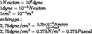 1 Newton = 10^5 dyne \\ 1dyne = 10^{-5} Newton \\ 1cm^2=10^{-4} m^2 \\ sehingga: \\ 2,75 dyne/cm^2= \frac{2,75*10^{-5}Newton}{10^{-4} m^2} \\  2,75 dyne/cm^2= 0.275N/m^2=0.275 Pascal
