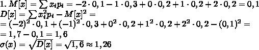 1.\;M[x]=\sum x_ip_i=-2\cdot0,1-1\cdot0,3+0\cdot0,2+1\cdot0,2+2\cdot0,2=0,1\\D[x]=\sum x_i^2p_i-M[x]^2=\\=(-2)^2\cdot0,1+(-1)^2\cdot0,3+0^2\cdot0,2+1^2\cdot0,2+2^2\cdot0,2-(0,1)^2=\\=1,7-0,1=1,6\\\sigma(x)=\sqrt{D[x]}=\sqrt{1,6}\approx1,26