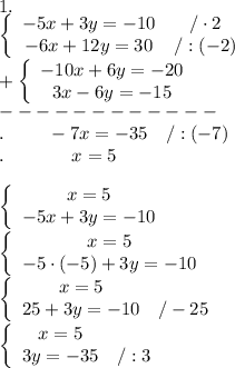 1.\\  \left\{\begin{array}{ccc}-5x+3y=-10&/\cdot2\\-6x+12y=30&/:(-2)\end{array}\right\\+\left\{\begin{array}{ccc}-10x+6y=-20\\3x-6y=-15\end{array}\right\\------------\\.\ \ \ \ \ \ \ -7x=-35\ \ \ /:(-7)\\.\ \ \ \ \ \ \ \ \ \ \ x=5\\\\\left\{\begin{array}{ccc}x=5\\-5x+3y=-10\end{array}\right\\\left\{\begin{array}{ccc}x=5\\-5\cdot(-5)+3y=-10\end{array}\right\\\left\{\begin{array}{ccc}x=5\\25+3y=-10&/-25\end{array}\right\\\left\{\begin{array}{ccc}x=5\\3y=-35&/:3\end{array}\right