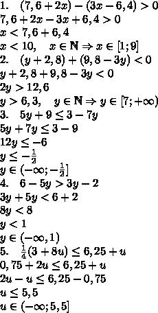 1.\quad(7,6+2x)-(3x-6,4)>0\\ 7,6+2x-3x+6,4>0\\ x<7,6+6,4\\ x<10,\quad x\in\mathbb{N}\Rightarrow x\in[1;9]\\ 2.\quad(y+2,8)+(9,8-3y)<0\\ y+2,8+9,8-3y<0\\ 2y>12,6\\ y>6,3,\quad y\in\mathbb{N}\Rightarrow y\in[7;+\infty)\\ 3.\quad5y+9\leq3-7y\\ 5y+7y\leq3-9\\ 12y\leq-6\\ y\leq-\frac12\\ y\in(-\infty;-\frac12]\\ 4.\quad6-5y>3y-2\\ 3y+5y<6+2\\ 8y<8\\ y<1\\ y\in(-\infty,1)\\ 5.\quad\frac14(3+8u)\leq6,25+u\\ 0,75+2u\leq6,25+u\\ 2u-u\leq6,25-0,75\\ u\leq5,5\\ u\in(-\infty;5,5]