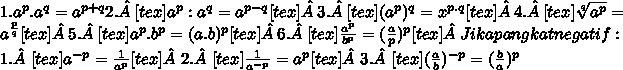1.  a^{p}.a^{q}= a^{p+q} 2.[tex]a^{p}: a^{q}= a^{p-q}[tex] 3.[tex]( a^{p} )^{q}=  x^{p.q}[tex] 4.[tex]\sqrt[q]{ a^{p} } =  a^{ \frac{p}{q} }[tex] 5.[tex]a^{p} . b^{p} = (a. b)^{p}[tex] 6.[tex]\frac{ a^{p} }{ b^{p} }=( \frac{a}{p})^{p}[tex] Jika pangkat negatif : 1.[tex]a^{-p}=  \frac{1}{ a^{p} }[tex] 2.[tex]\frac{1}{ a^{-p} }= a^{p}[tex] 3.[tex]( \frac{a}{b})^{-p}= ( \frac{b}{a})^{p}