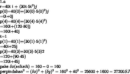 1.ar=40t i + (30t-5t^2)jp(0)=40(0)+(30(0)-5(0)^2)j       =0i+0jp(4)=40(4)+(30(4)-5(4)^2)      =160i+(120-80)j      =160i+40jt=1p(1)=40(1)+(30(1)-5(1)^2)      =40i+25jp(3)=40(3)+30(3)-5(3)2       =120+(90-45)        =120i+45jpake \delta x (selisih)= 160 - 0 = 160 perpindahan^2=( \delta x )^2+( \delta y)^2=160^2+40^2 =25600+1600=27200 SJ