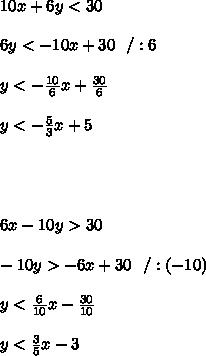10x+6y<30 \\\\ 6y<-10x+30\ \ / :6\\\\y<-\frac{10}{6}x+\frac{30}{6}\\\\y<-\frac{5}{3}x+5\\\\\\\\\\  6x-10y>30\\\\-10y>-6x+30\ \ /:(-10)\\\\y<\frac{6}{10}x-\frac{30}{10}\\\\y<\frac{3}{5}x-3