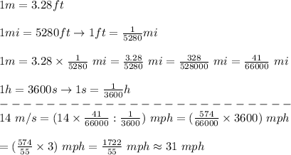 1m=3.28ft\\\\1mi=5280ft\to1ft=\frac{1}{5280}mi\\\\1m=3.28\times\frac{1}{5280}\ mi=\frac{3.28}{5280}\ mi=\frac{328}{528000}\ mi=\frac{41}{66000}\ mi\\\\1h=3600s\to1s=\frac{1}{3600}h\\-------------------------\\14\ m/s=(14\times\frac{41}{66000}:\frac{1}{3600})\ mph=(\frac{574}{66000}\times3600)\ mph\\\\=(\frac{574}{55}\times3)\ mph=\frac{1722}{55}\ mph\approx31\ mph
