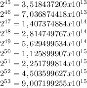 2^{45}=3,518437209x10^{13}  \\ 2^{46}=7,036874418x10^{13}   \\ 2^{47}=1,407374884x10^{14}  \\ 2^{48}=2,814749767x10^{14}  \\ 2^{49}=5,629499534x10^{14}\\ 2^{50}=1,125899907x10^{15}\\ 2^{51}=2,251799814x10^{15}\\ 2^{52}=4,503599627x10^{15}\\ 2^{53}=9,007199255x10^{15}