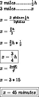 2 \ miles............ \frac{1}{2}h \\3 \ miles............x \\\\ x= \frac{ 3\ \not miles*\frac{1}{2}h}{2 \not miles} \\\\ x= \frac{ \frac{3}{2}h}{2} \\\\ x=\frac{3}{2}h*\frac{1}{2} \\\\ \boxed{x=\frac{3}{4}h} \\\\ x=\frac{3*\not60}{\not4} \\\\ x=3*15 \\\\ \boxed{\boxed{x=45 \ minutes}}
