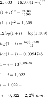 21.600=16.500(1+i)^{12}  \\\\(1+i)^{12}=\frac{21600}{16500}  \\\\(1+i)^{12}=1,309  \\\\12log(1+i)=log(1,309)   \\\\log(1+i)=\frac{log(1,309)}{12}  \\\\log(1+i)=0,0094748   \\\\1+i=10^{0,009478}   \\\\1+i=1,022  \\\\i=1,022-1  \\\\\boxed{i=0,022=2,2\% \ a.m.}