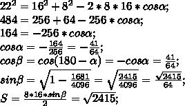 22^2=16^2+8^2-2*8*16*cos\alpha;\\ 484=256+64-256*cos\alpha;\\ 164=-256*cos\alpha;\\ cos\alpha=-\frac{164}{256}=-\frac{41}{64};\\ cos\beta=cos(180-\alpha)=-cos\alpha=\frac{41}{64};\\ sin\beta=\sqrt{1-\frac{1681}{4096}}=\sqrt{\frac{2415}{4096}}=\frac{\sqrt{2415}}{64};\\ S=\frac{8*16*sin\beta}{2}=\sqrt{2415};\\