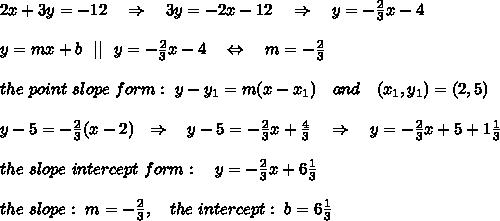 2x+3y=-12\ \ \ \Rightarrow\ \ \ 3y=-2x-12\ \ \ \Rightarrow\ \ \ y=- \frac{2}{3} x-4\\\\y=mx+b\ \   \ \ y=- \frac{2}{3} x-4\ \ \ \Leftrightarrow\ \ \ m=-\frac{2}{3}\\\\the\ point\ slope\ form:\ y-y_1=m(x-x_1)\ \ \ and\ \ \ (x_1,y_1)=(2,5)\\\\y-5=-\frac{2}{3}(x-2) \ \ \Rightarrow\ \ \ y-5=-\frac{2}{3}x+\frac{4}{3}\ \ \ \Rightarrow\ \ \ y=-\frac{2}{3}x+5+1\frac{1}{3} \\\\the\ slope\ intercept\ form:\ \ \ y=-\frac{2}{3}x+6\frac{1}{3}\\\\ the\ slope:\ m=- \frac{2}{3},\ \ \ the\ intercept:\ b=6\frac{1}{3}